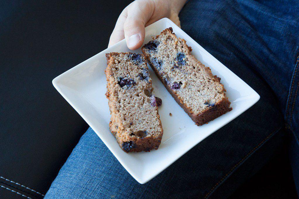 Paleo Banana Bread with Blueberries