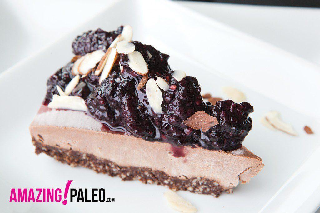 RAW Dark Chocolate Blackberry Paleo Cheesecake