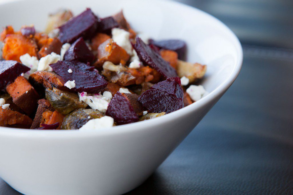 Roasted Sweet Potatoes and Brussels Sprouts with Feta and Beets