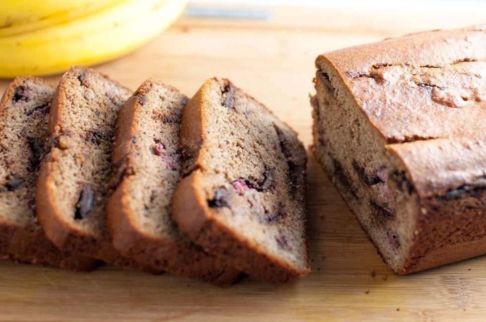 13. Chocolate Swirl Banana Bread With Raspberries