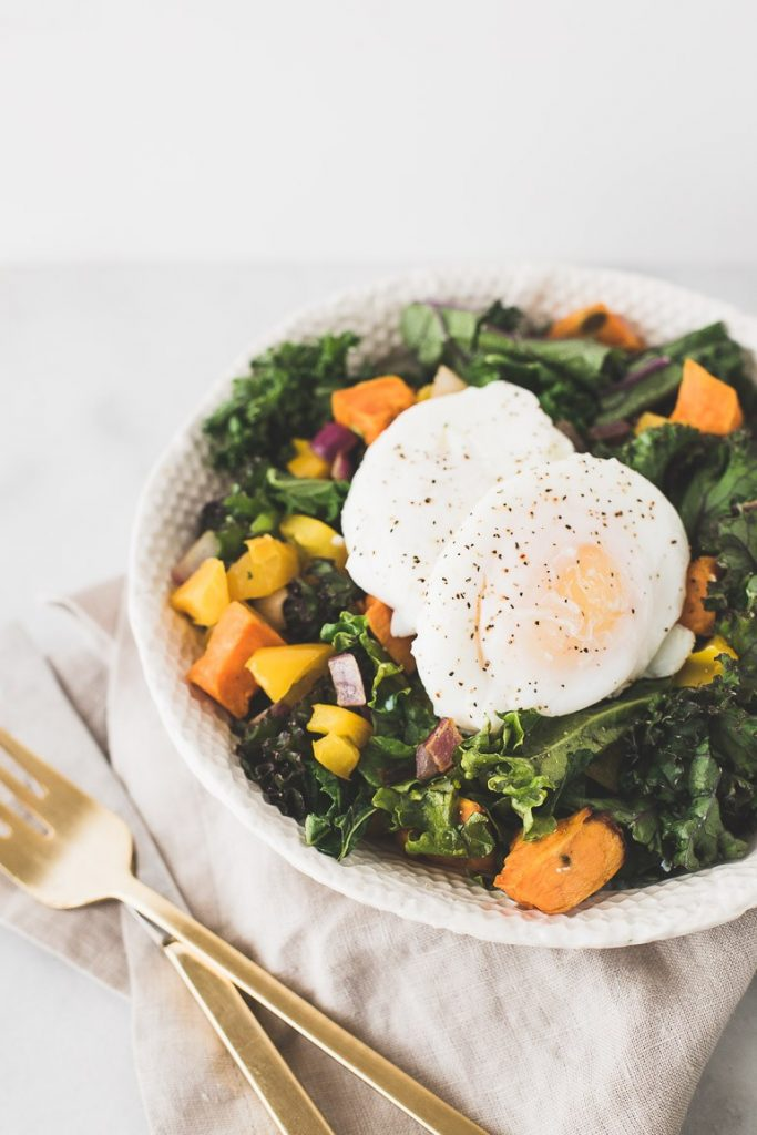 Easy Breakfast Salad With Poached Eggs & Wilted Kale