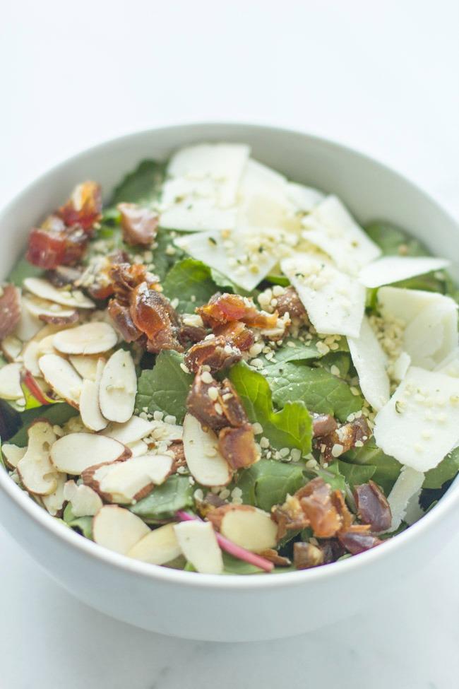 Hemp Kale Salad With Lemon Vinaigrette Dressing
