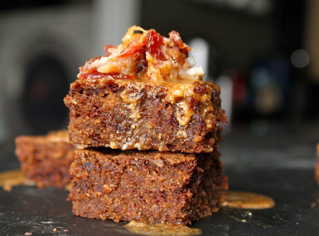 Bacon Nutella Brownie Bites w: Maple Cinnamon Bacon Glaze