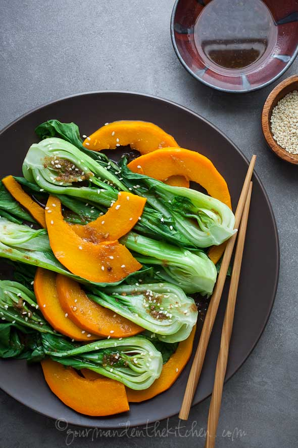 STEAMED PUMPKIN AND BABY BOK CHOY WITH GINGER SESAME SAUCE (VEGAN, PALEO)