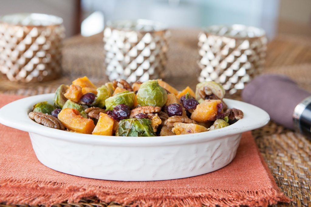 Oven Roasted Butternut Squash and Brussels Sprouts