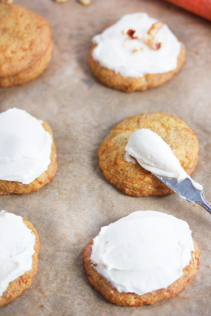 CARROT CAKE COOKIES WITH VANILLA MAPLE FROSTING