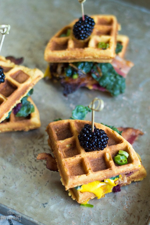 SWEET AND SAVORY WAFFLES BENEDICT STACKS