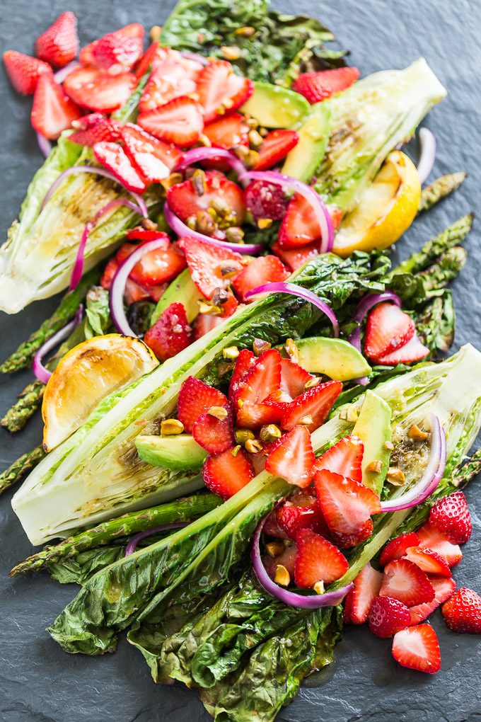 GRILLED ROMAINE SALAD WITH STRAWBERRIES AND FENNEL VINAIGRETTE