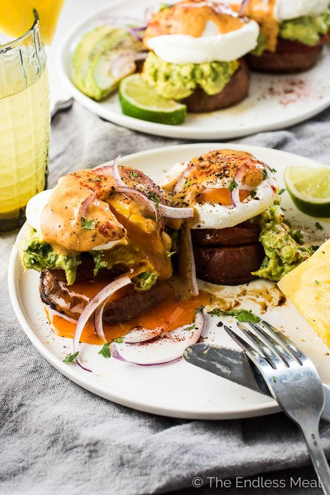 MEXICAN CHIPOTLE SWEET POTATO EGGS BENEDICT