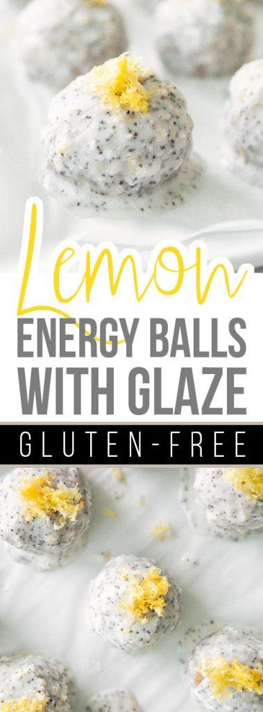 Lemon Energy Balls with Poppy Seed Coconut Glaze