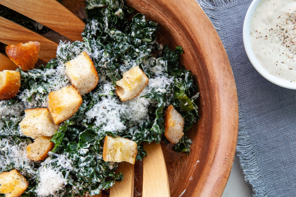 Caesar Tahini Kale Salad