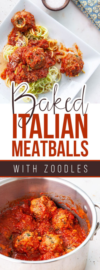 Baked Italian Meatballs with Zoodles