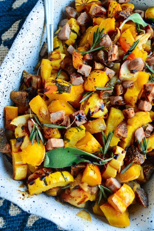 Roasted Apple & Squash Stuffing With Balsamic Drizzle