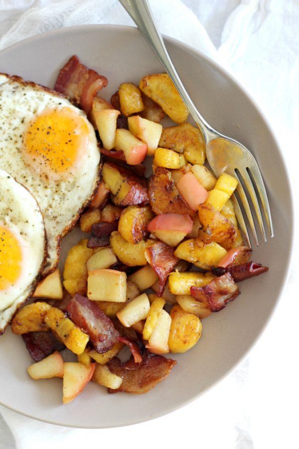 Sweet Plantain Apple Bacon Breakfast Hash