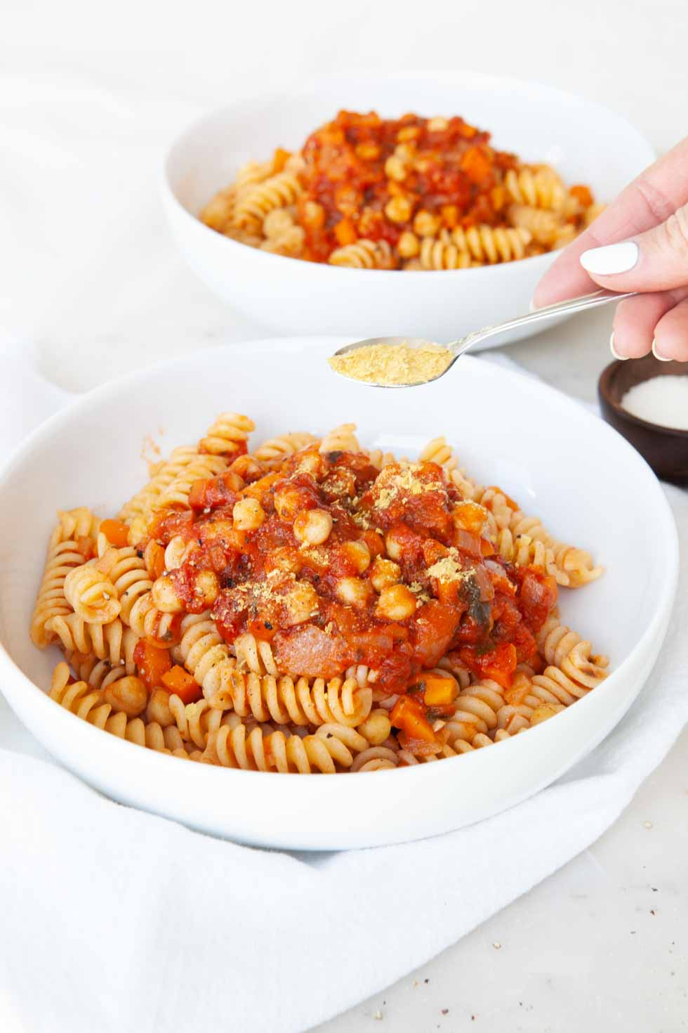 Vegan Pasta with Chickpea & Tomato Sauce