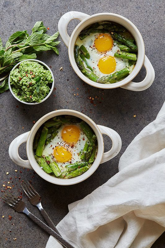 Baked Eggs with Asparagus and Lemony Pea Pesto