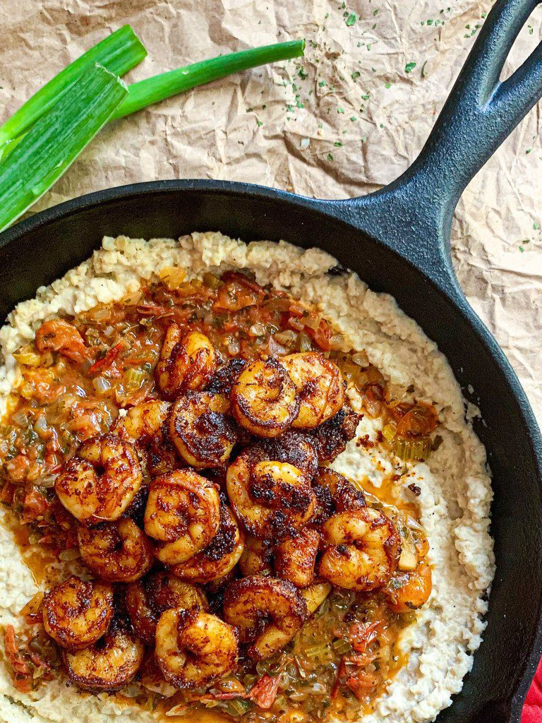 Cajun Shrimp and Cauliflower Grits