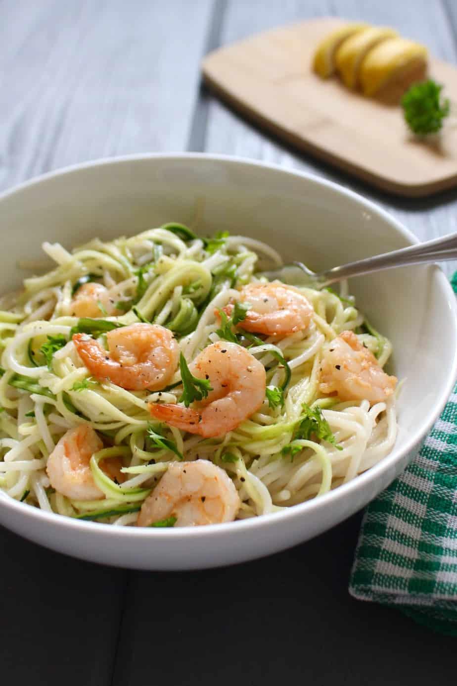 Coconut Garlic Shrimp Pasta