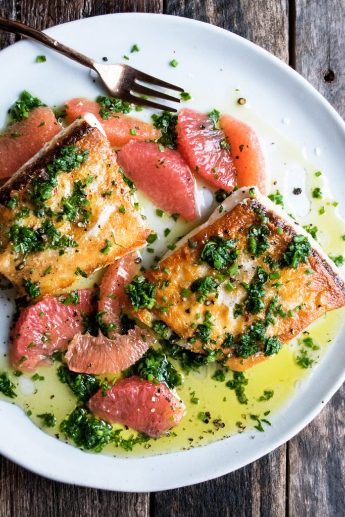 Halibut with Salsa Verde and Grapefruit
