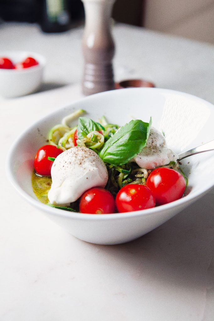 Pesto Zoodles with Burrata Cheese and Basil